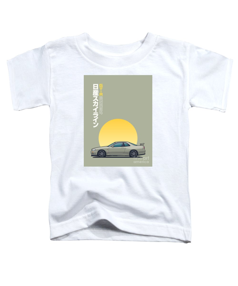 Gt-r Toddler T-Shirt featuring the digital art R34 Gt-r - Portrait Jade by Ivan Krpan