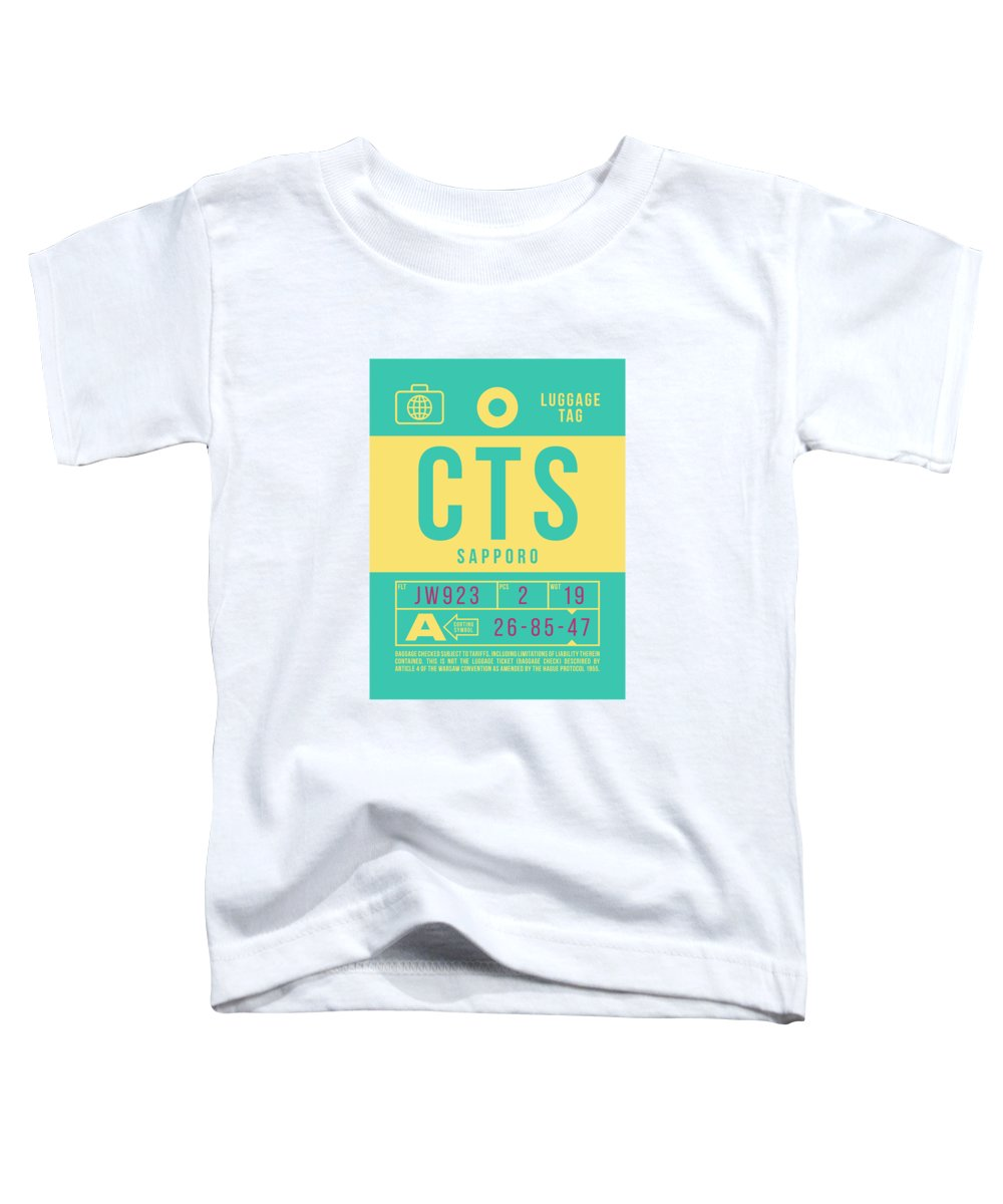 Airline Toddler T-Shirt featuring the digital art Retro Airline Luggage Tag 2.0 - Cts Sapporo Japan by Ivan Krpan