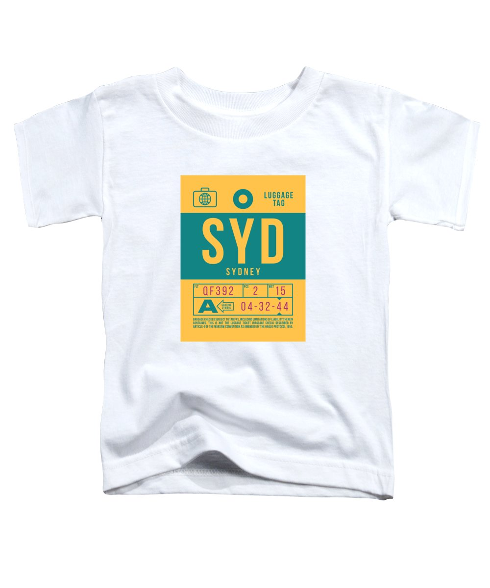 Airline Toddler T-Shirt featuring the digital art Retro Airline Luggage Tag 2.0 - Syd Sydney Kingsford Smith Airport Australia by Ivan Krpan