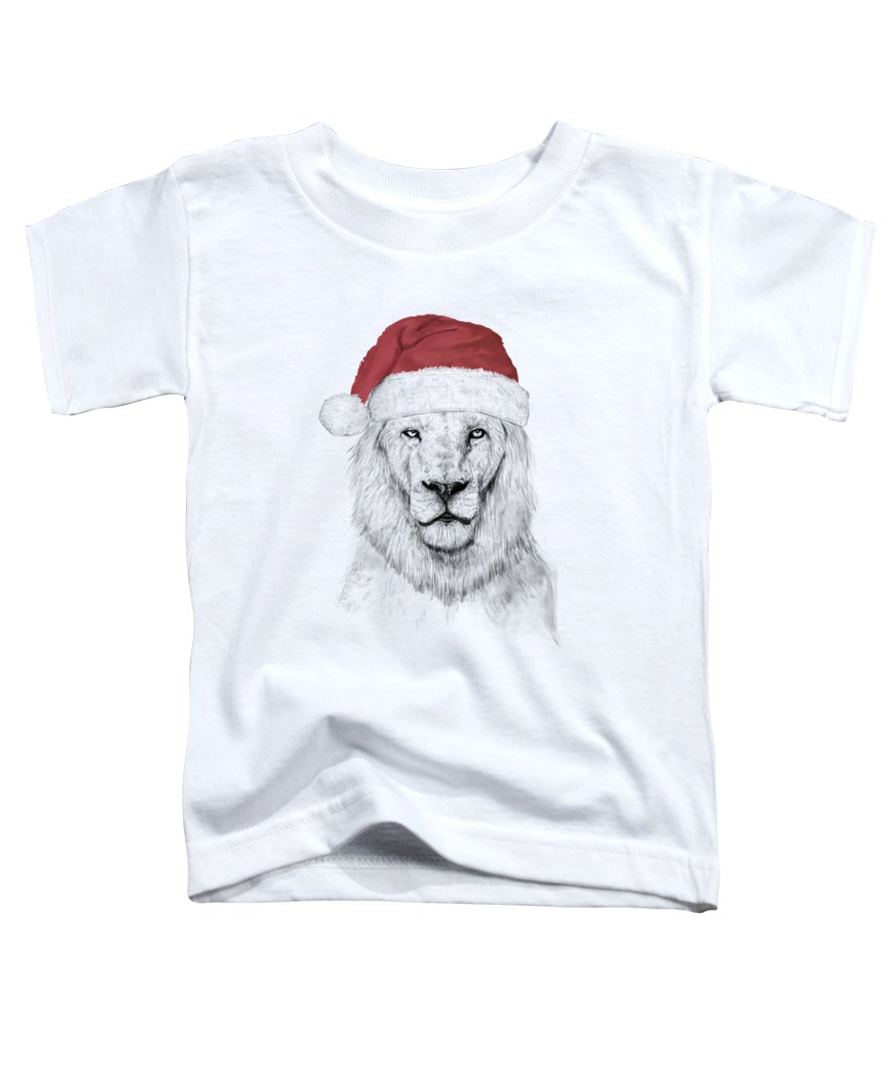 Lion Toddler T-Shirt featuring the mixed media Santa lion by Balazs Solti
