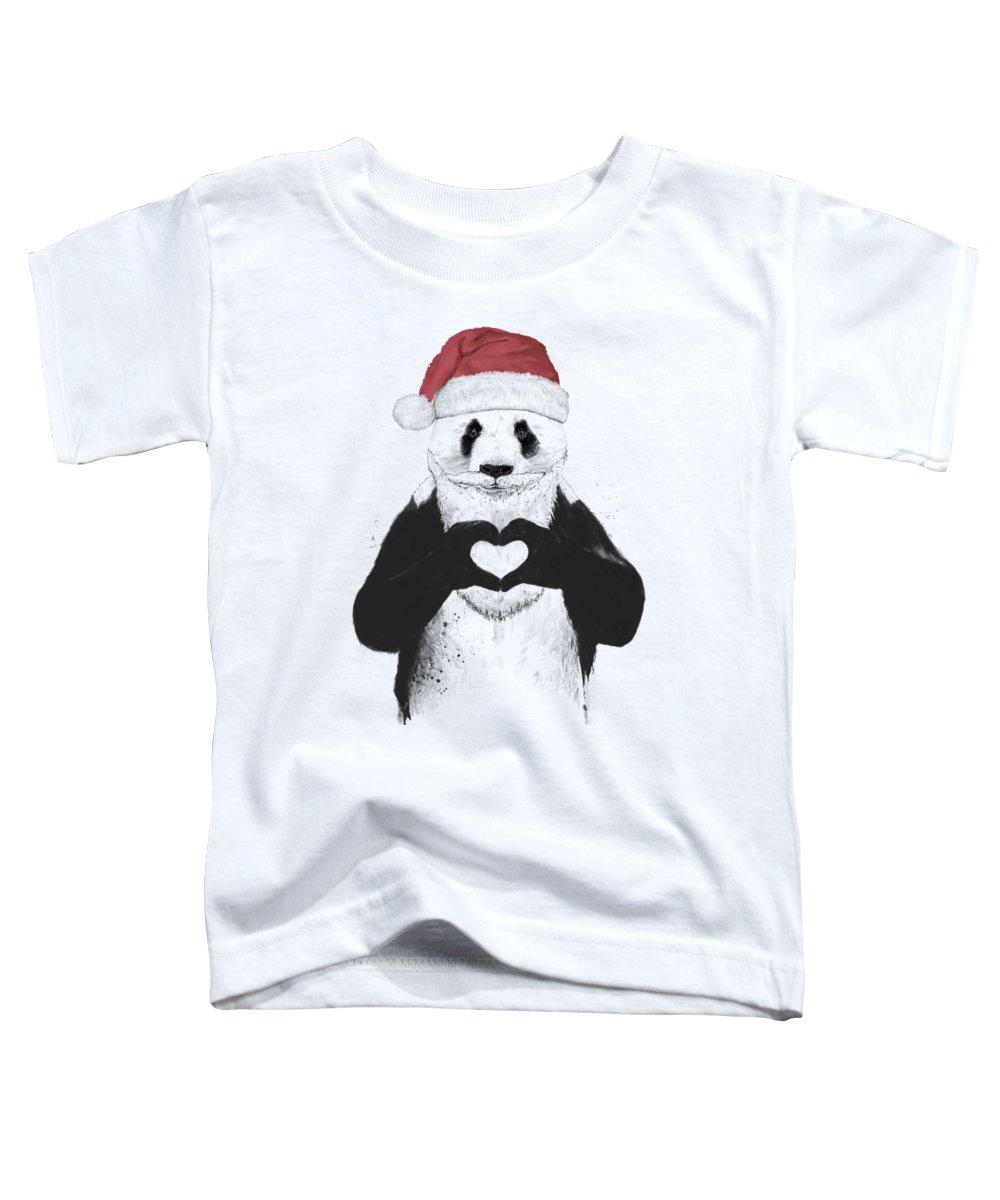 Panda Toddler T-Shirt featuring the mixed media Santa panda by Balazs Solti