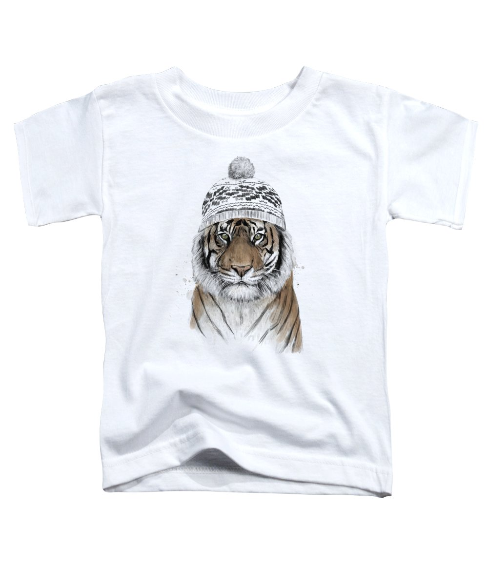 Tiger Toddler T-Shirt featuring the mixed media Siberian Tiger by Balazs Solti