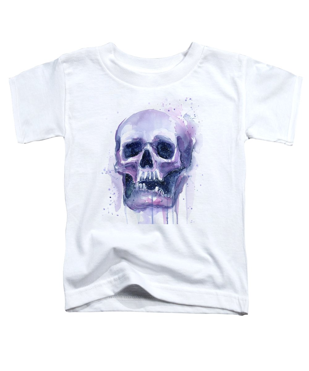 Space Toddler T-Shirt featuring the painting Skull In Space by Olga Shvartsur