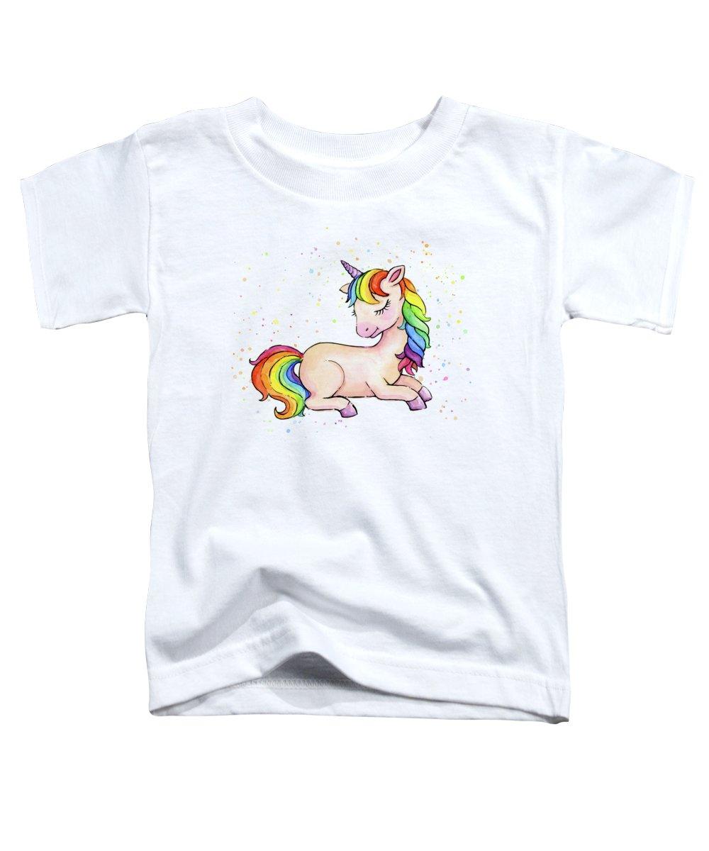 Sleeping Unicorn Toddler T-Shirt featuring the painting Sleeping Baby Rainbow Unicorn by Olga Shvartsur