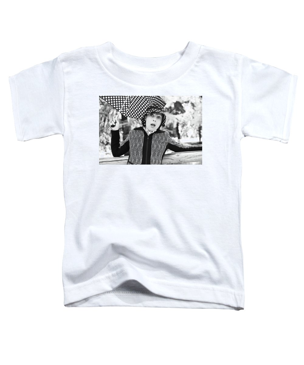 Black And White Toddler T-Shirt featuring the photograph Surprise by Paola Baroni