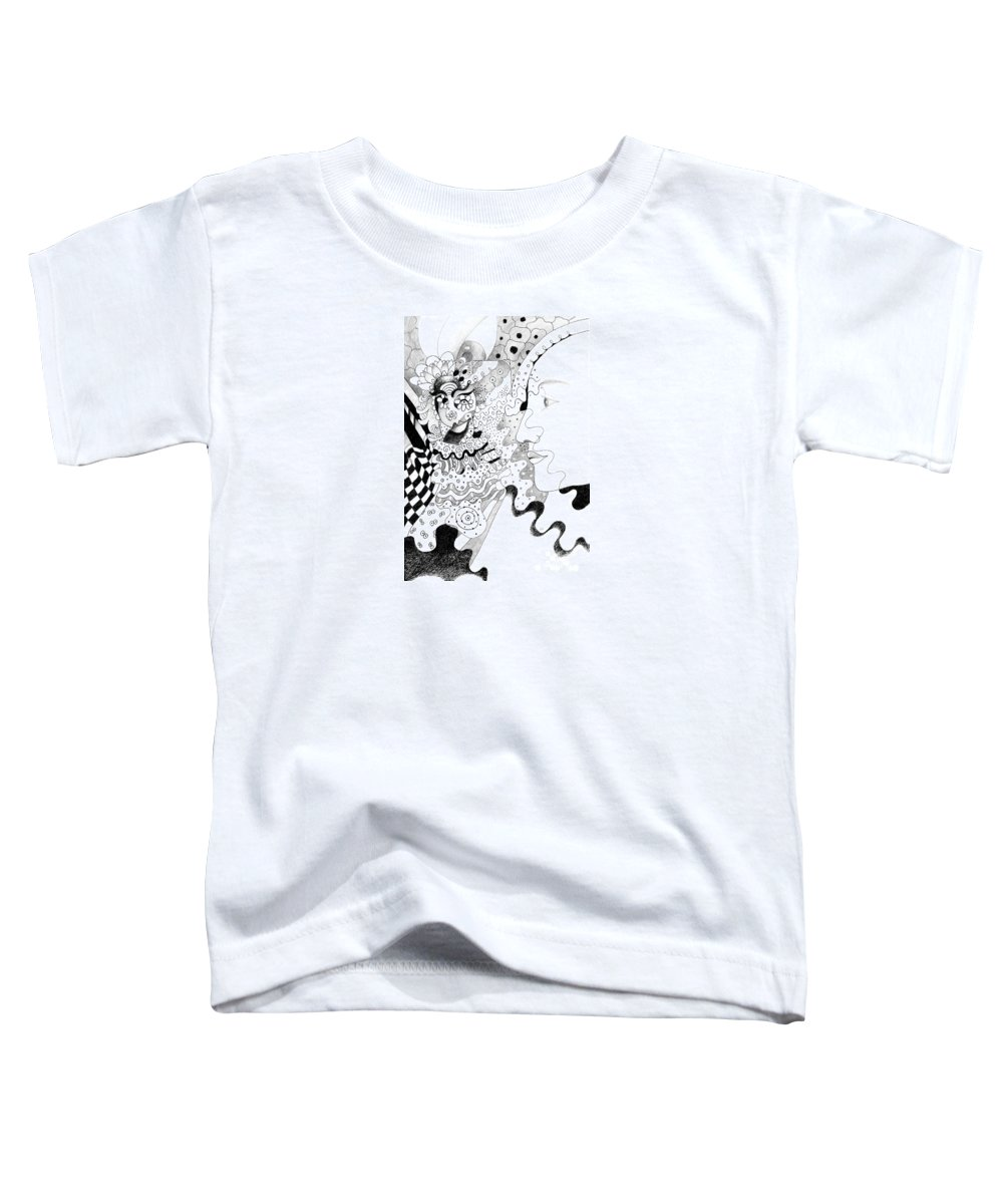 The Eye In The Sky Aka The I In The Sky By Helena Tiainen Toddler T-Shirt featuring the drawing The Eye In The Sky Aka The I In The Sky by Helena Tiainen
