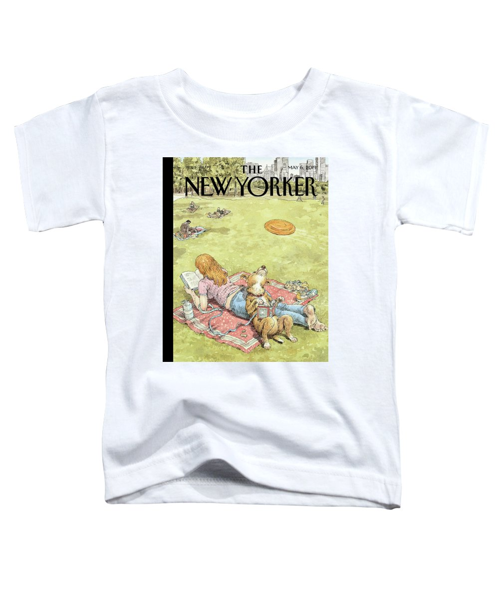 To Fetch Or Not To Fetch Toddler T-Shirt featuring the painting To Fetch or Not to Fetch by John Cuneo