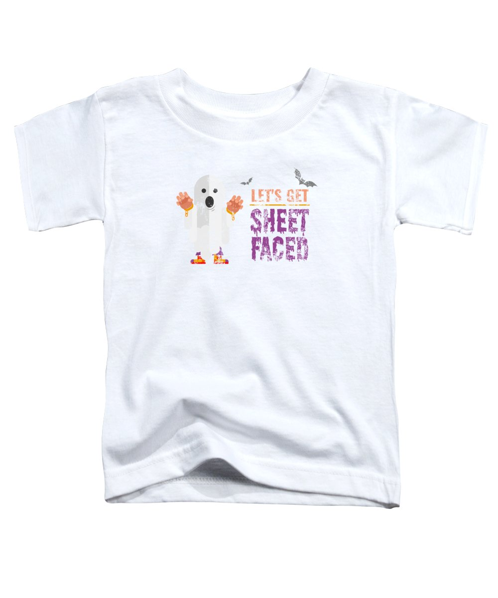 Halloween Costume Toddler T-Shirt featuring the digital art tshirt Lets Get Sheet Faced heavy weathered by Kaylin Watchorn