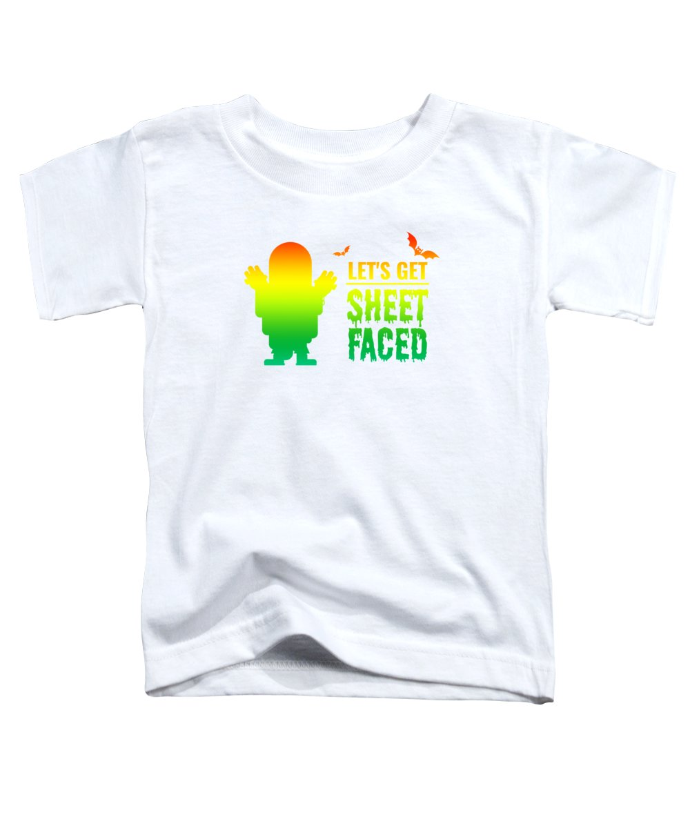 Halloween Costume Toddler T-Shirt featuring the digital art tshirt Lets Get Sheet Faced horizontal rainbow by Kaylin Watchorn