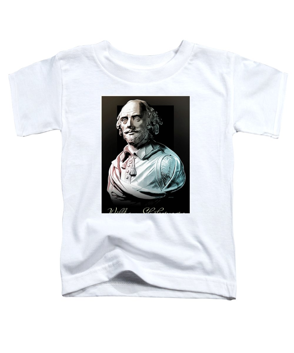 William Shakespeare Toddler T-Shirt featuring the digital art William Shakespeare by Greg Joens