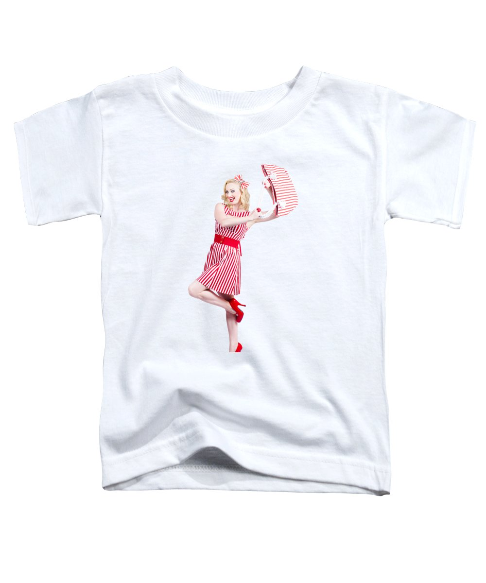 Retail Toddler T-Shirt featuring the photograph Woman Posing With Hand Bag by Jorgo Photography - Wall Art Gallery
