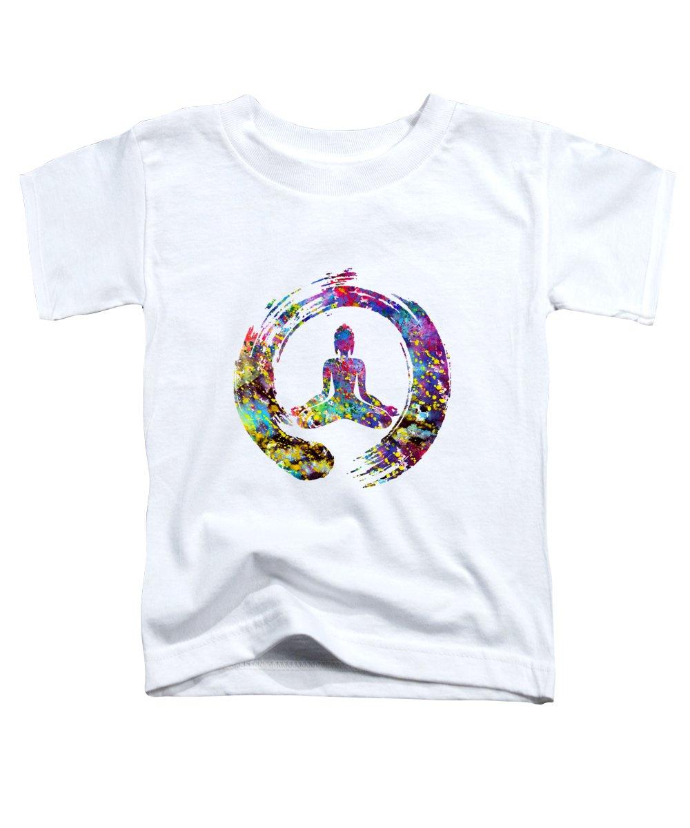 Zen Buddha Toddler T-Shirt featuring the digital art Zen Buddha-colorful by Erzebet S