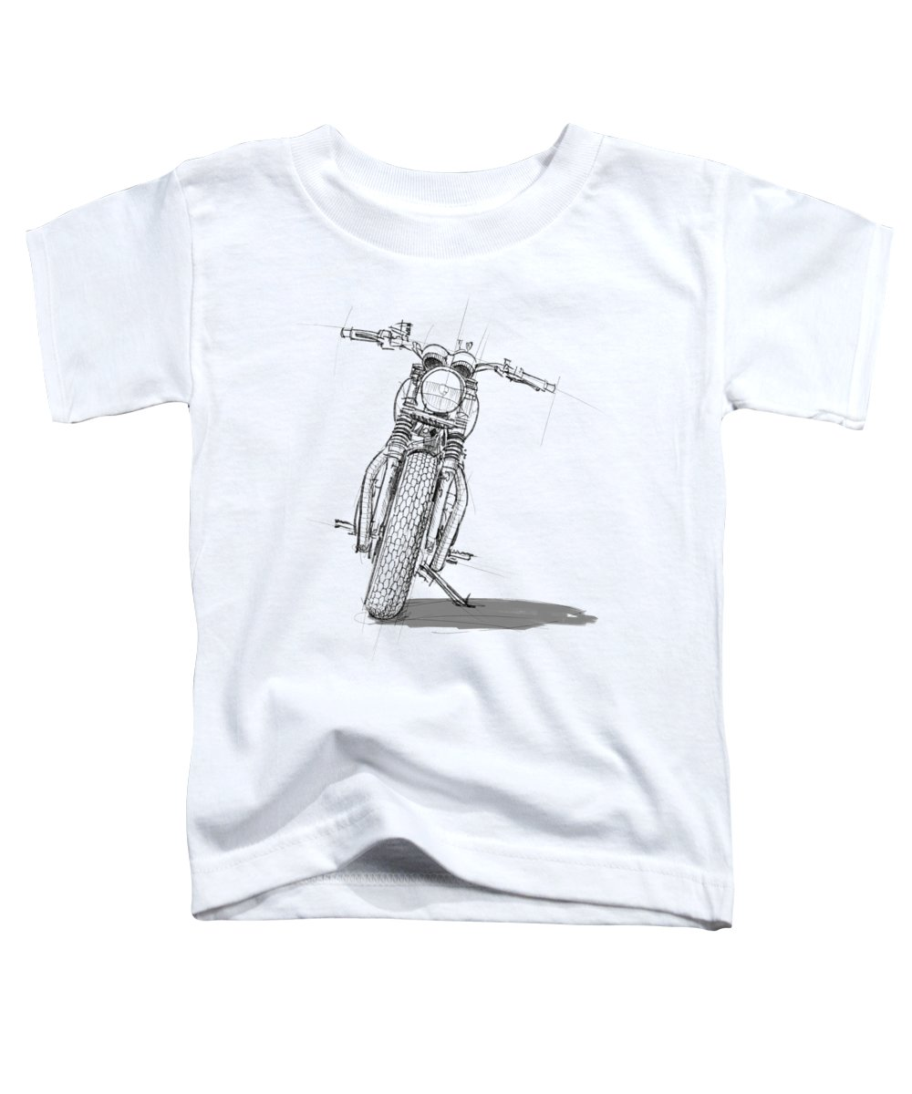 Triumph Bonneville Toddler T-Shirt featuring the drawing Triumph Bonneville,custom,original Artwork,gift For Bikers by Drawspots Illustrations