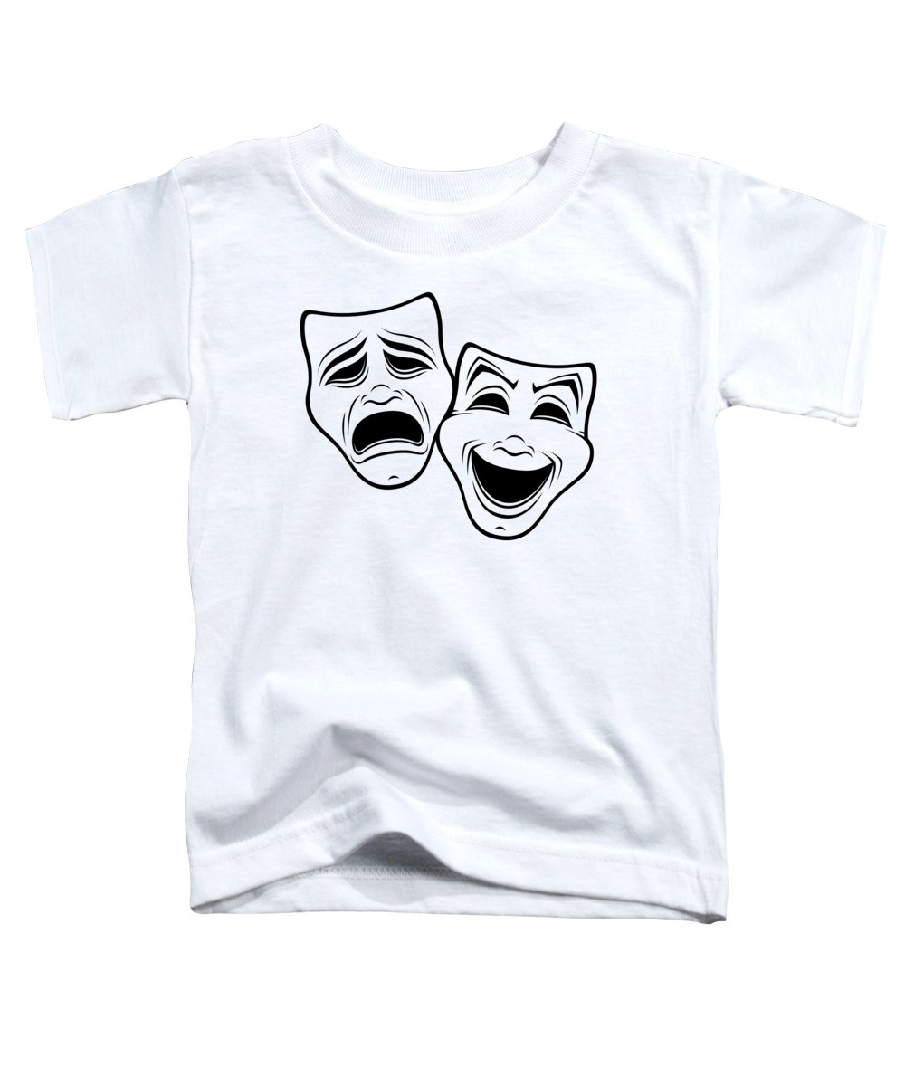 Acting Toddler T-Shirt featuring the digital art Comedy And Tragedy Theater Masks Black Line by John Schwegel