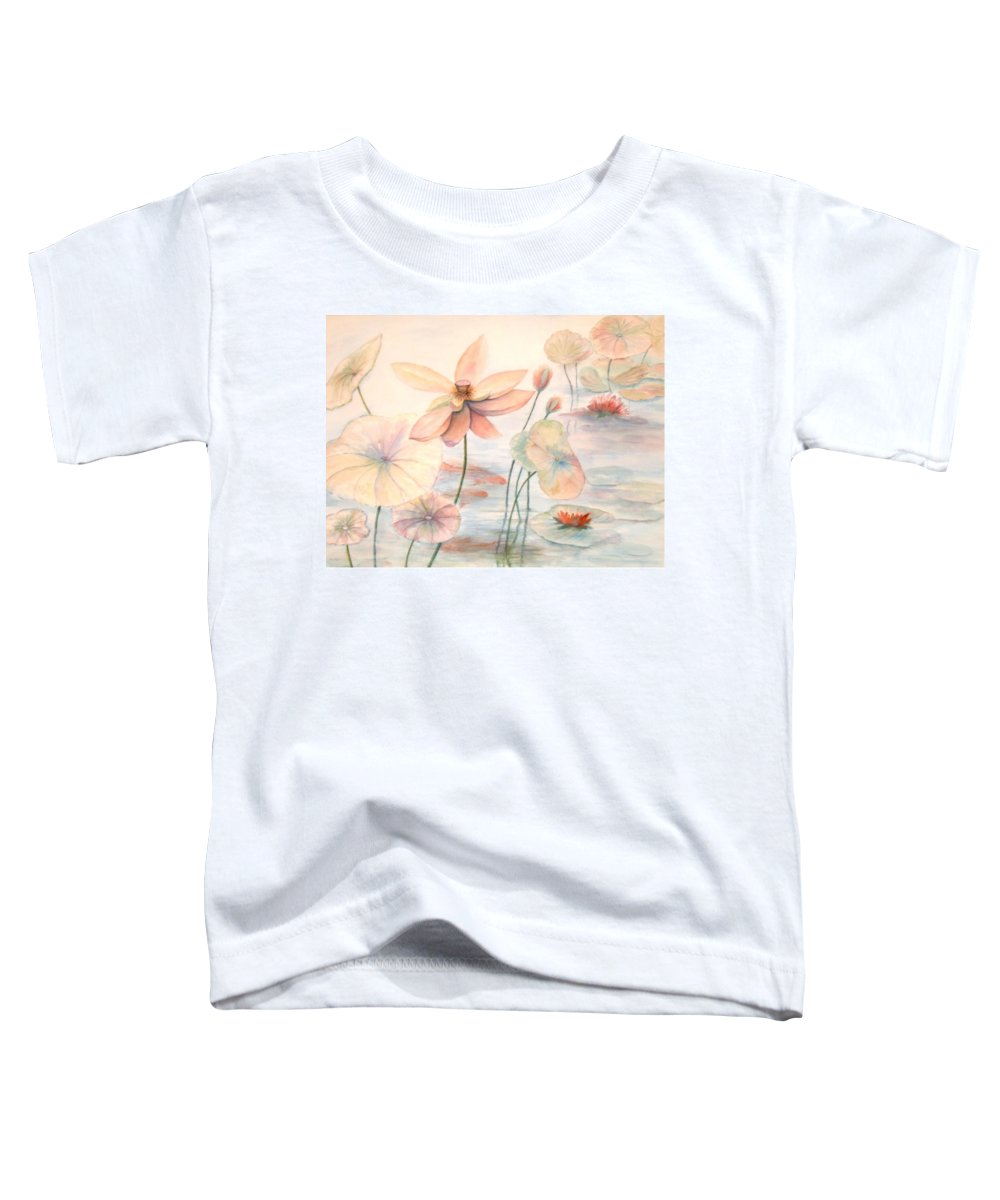 Lily Pads And Lotus Blossoms Toddler T-Shirt featuring the painting Lily Pads by Ben Kiger
