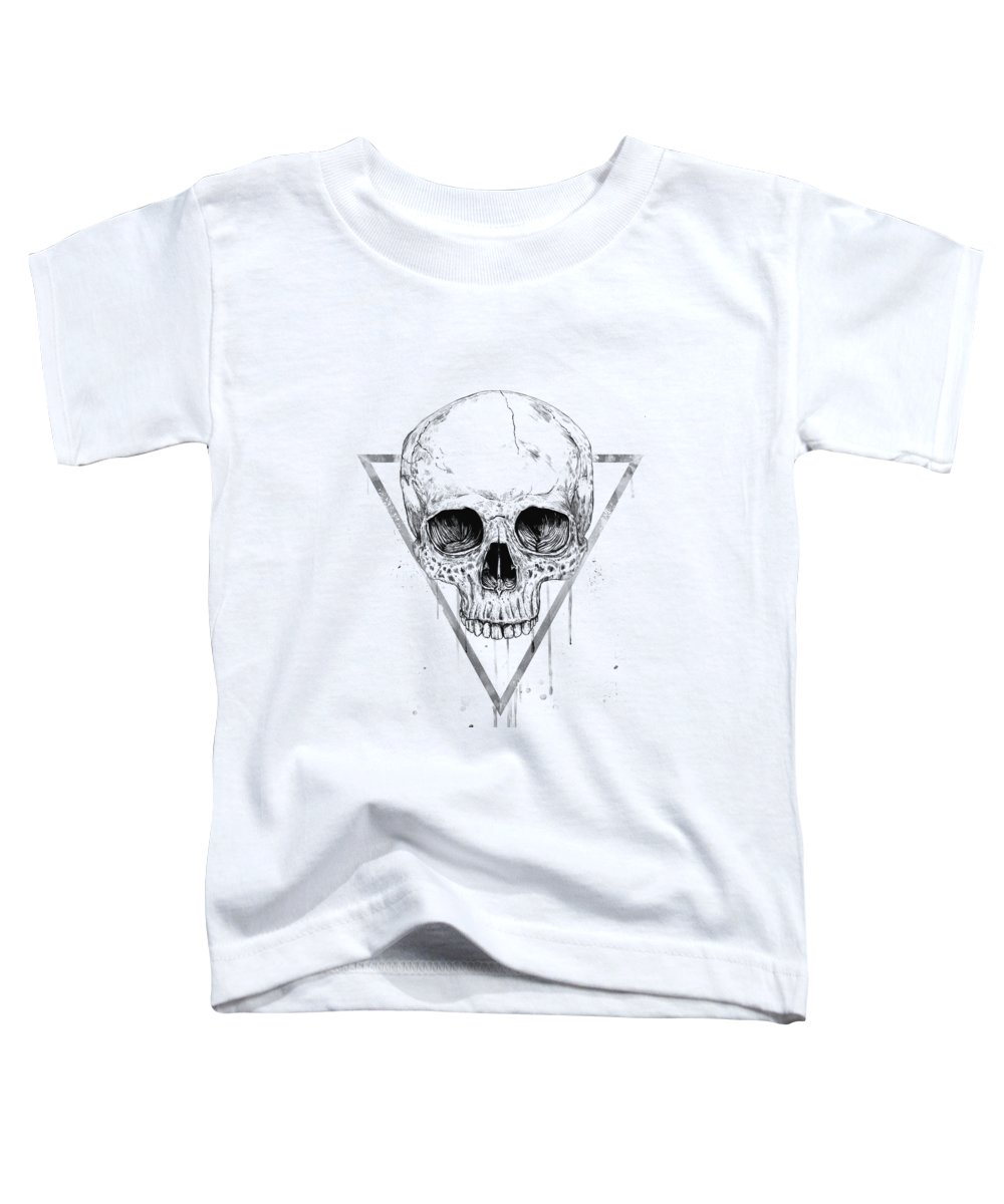Skull Toddler T-Shirt featuring the drawing Skull in a triangle II by Balazs Solti