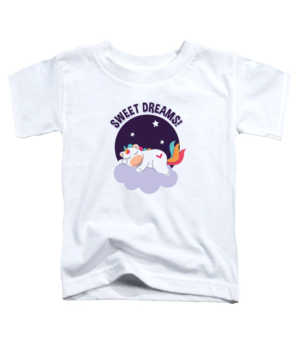 Adorable Toddler T-Shirt featuring the digital art Sweet Dreams Sleeping Unicorn by Passion Loft