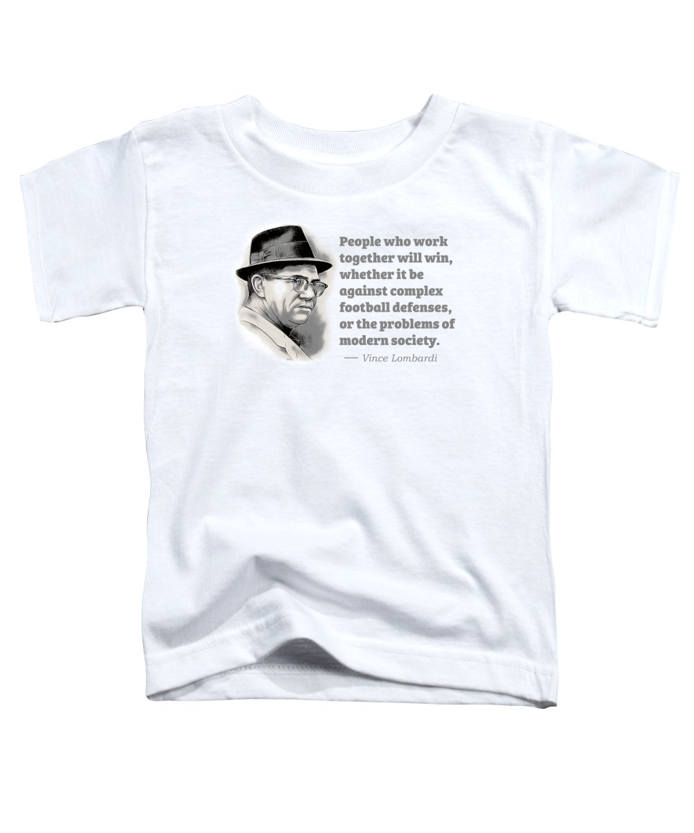 Vince Lombardi Toddler T-Shirt featuring the digital art Working Together by Greg Joens