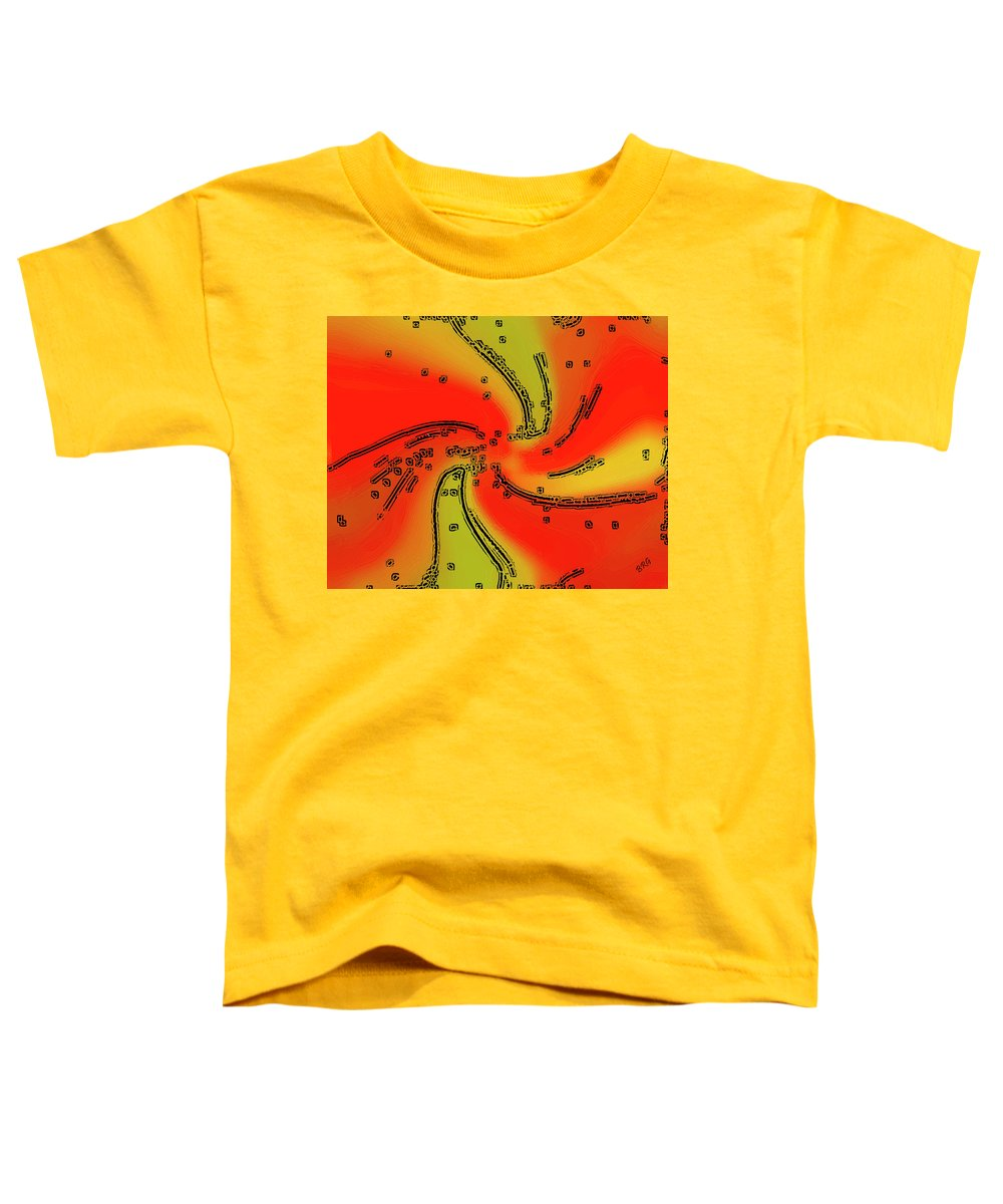 Red Abstract Toddler T-Shirt featuring the digital art Fantasy In Red by Ben and Raisa Gertsberg