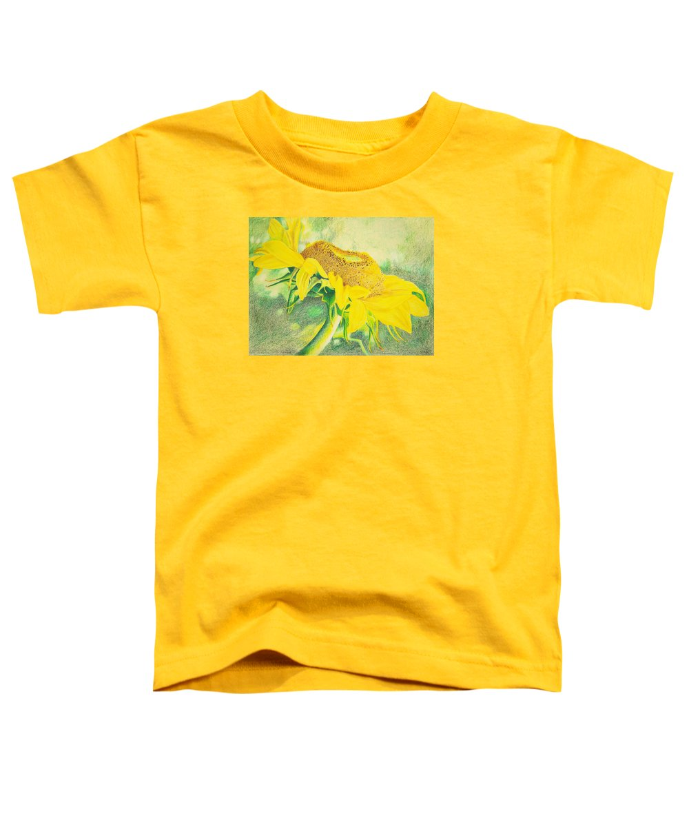 Sunflower Art Print Toddler T-Shirt featuring the mixed media Sunflower Print Art For Sale Colored Pencil Floral by Diane Jorstad