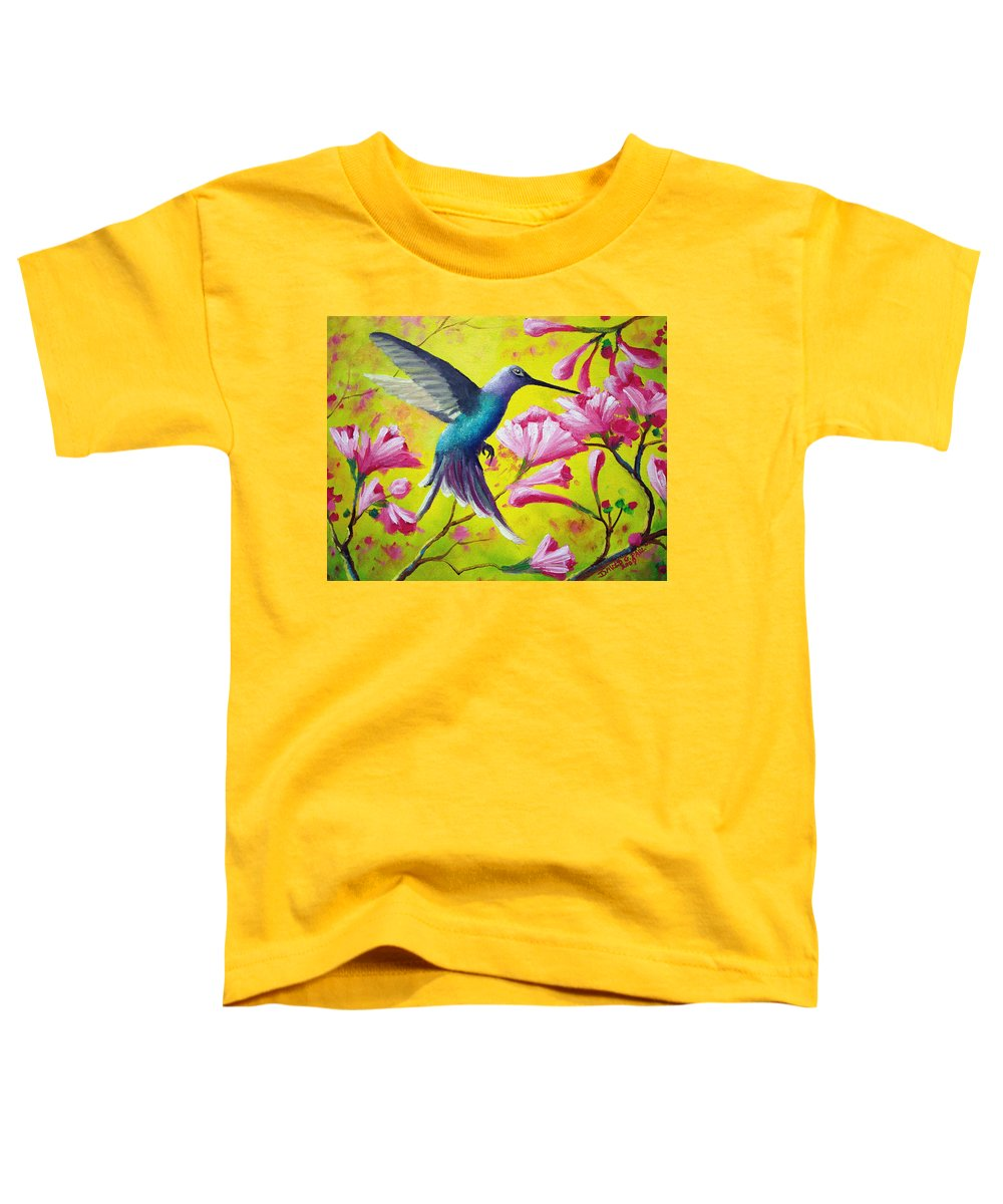 Hummingbird Toddler T-Shirt featuring the painting Morning Sweets by David G Paul