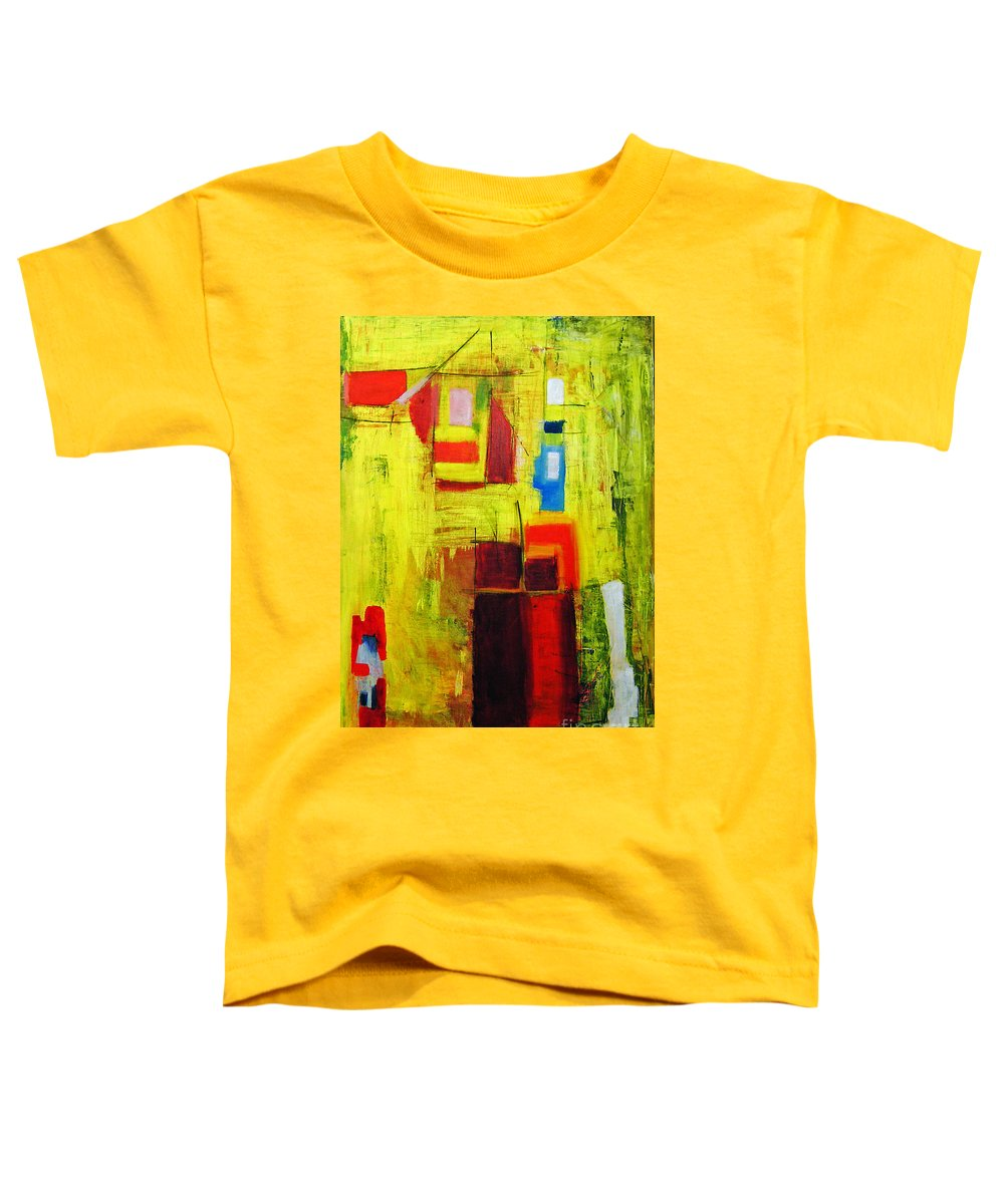 Abstract Painting Toddler T-Shirt featuring the painting Yellow by Jeff Barrett