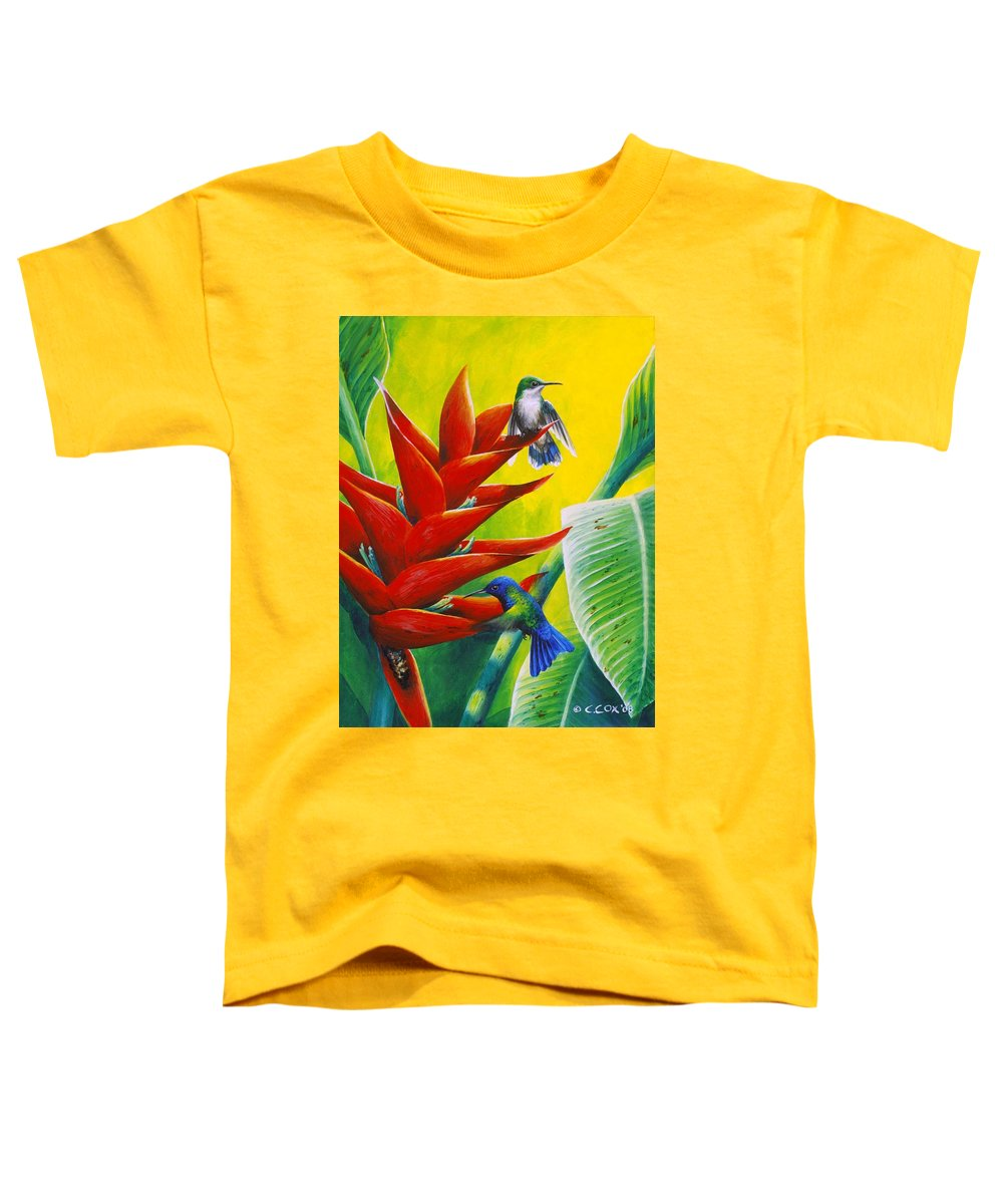 Chris Cox Toddler T-Shirt featuring the painting Blue-headed Hummingbirds And Heliconia by Christopher Cox