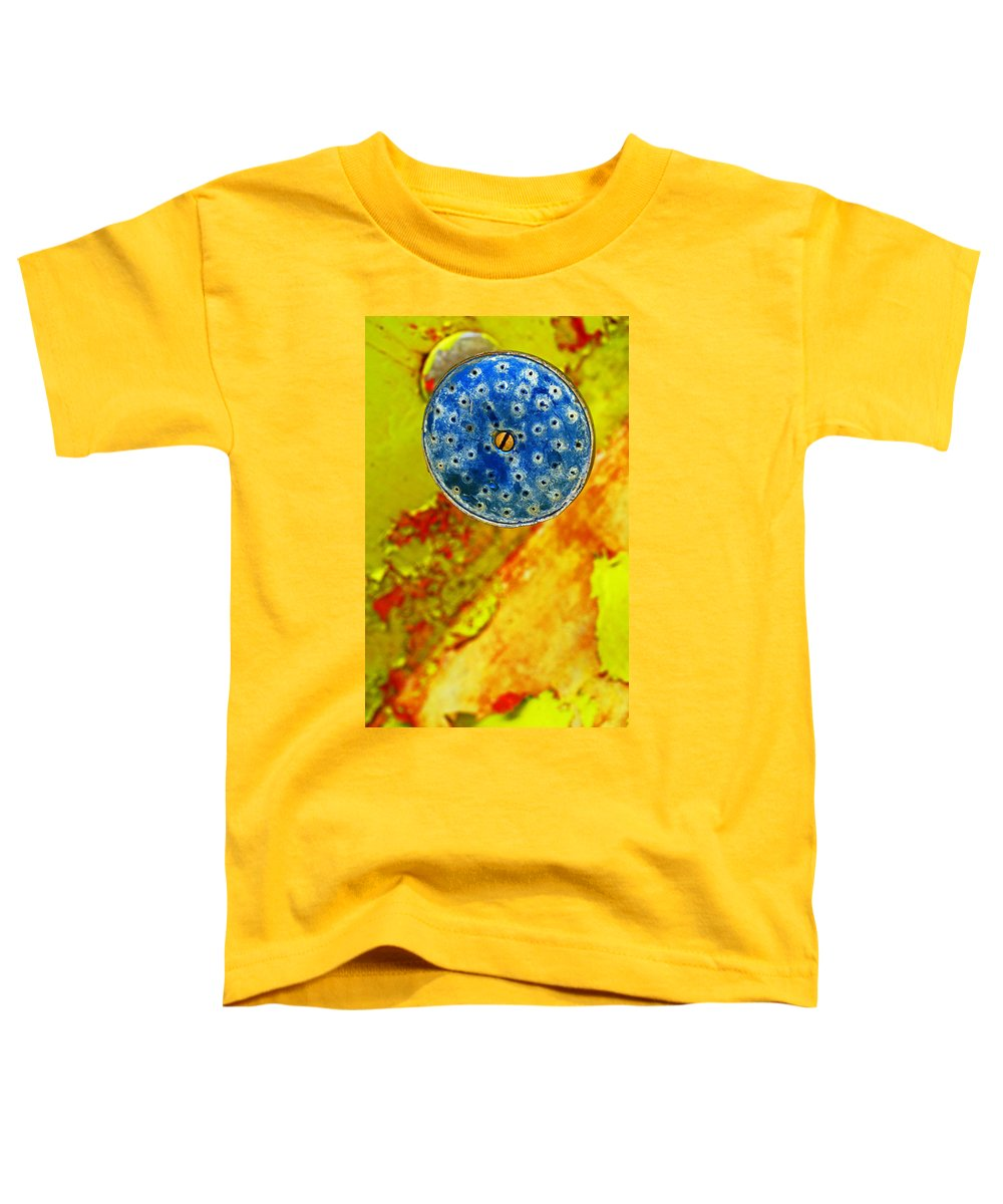 Shadow Toddler T-Shirt featuring the photograph Blue Shower Head by Skip Hunt