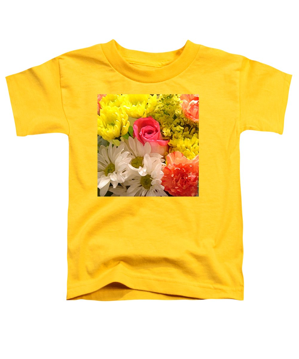 Floral Toddler T-Shirt featuring the painting Bright Spring Flowers by Amy Vangsgard