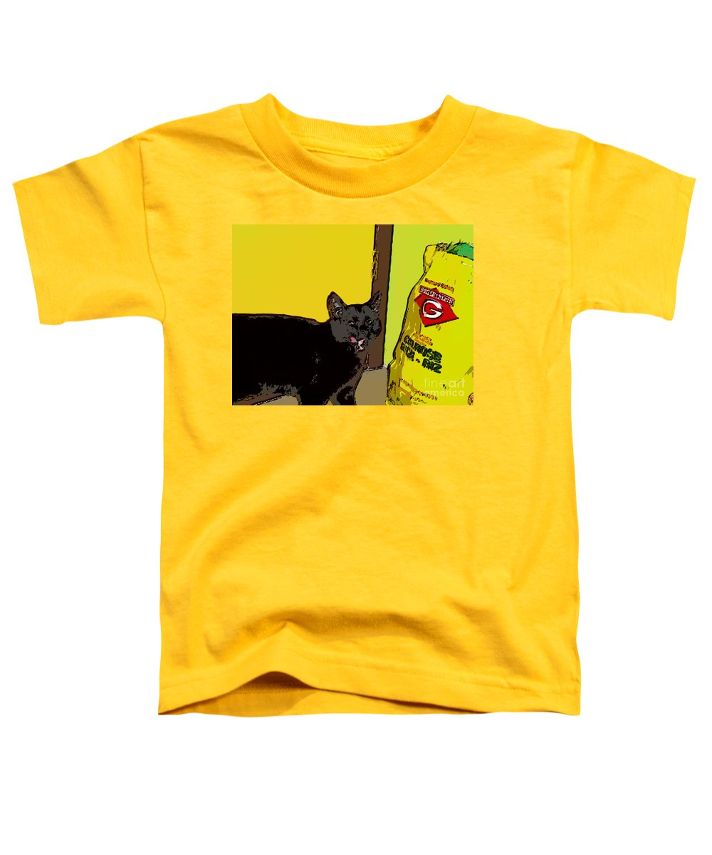 Photograph Cat Black Rice Yellow Critter Green Red Toddler T-Shirt featuring the photograph Cat And Rice by Seon-Jeong Kim