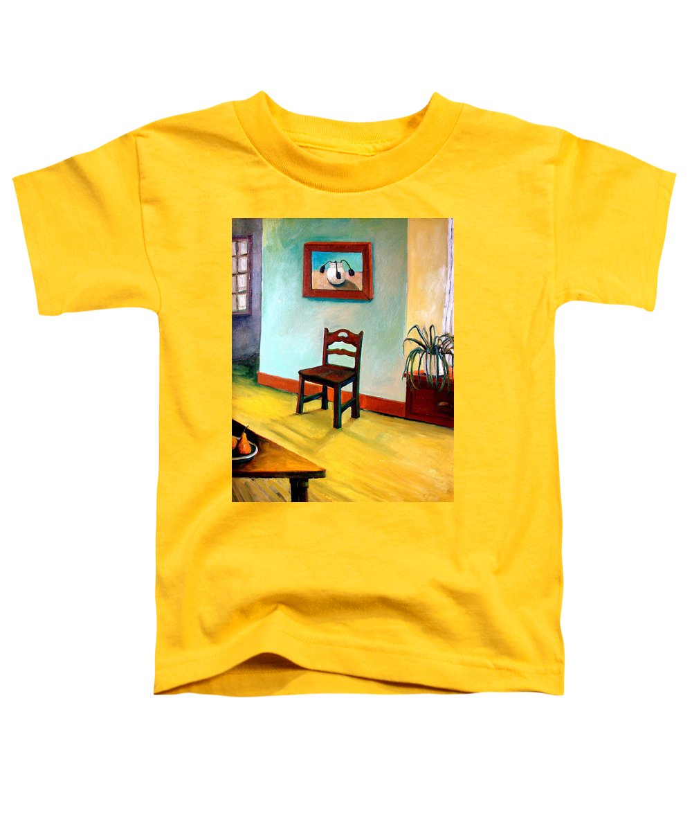 Apartment Toddler T-Shirt featuring the painting Chair And Pears Interior by Michelle Calkins