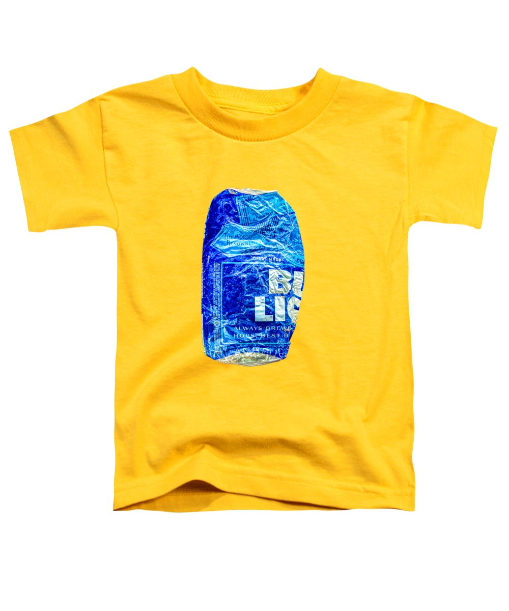 Blue Toddler T-Shirt featuring the photograph Crushed Blue Beer Can On Plywood by YoPedro