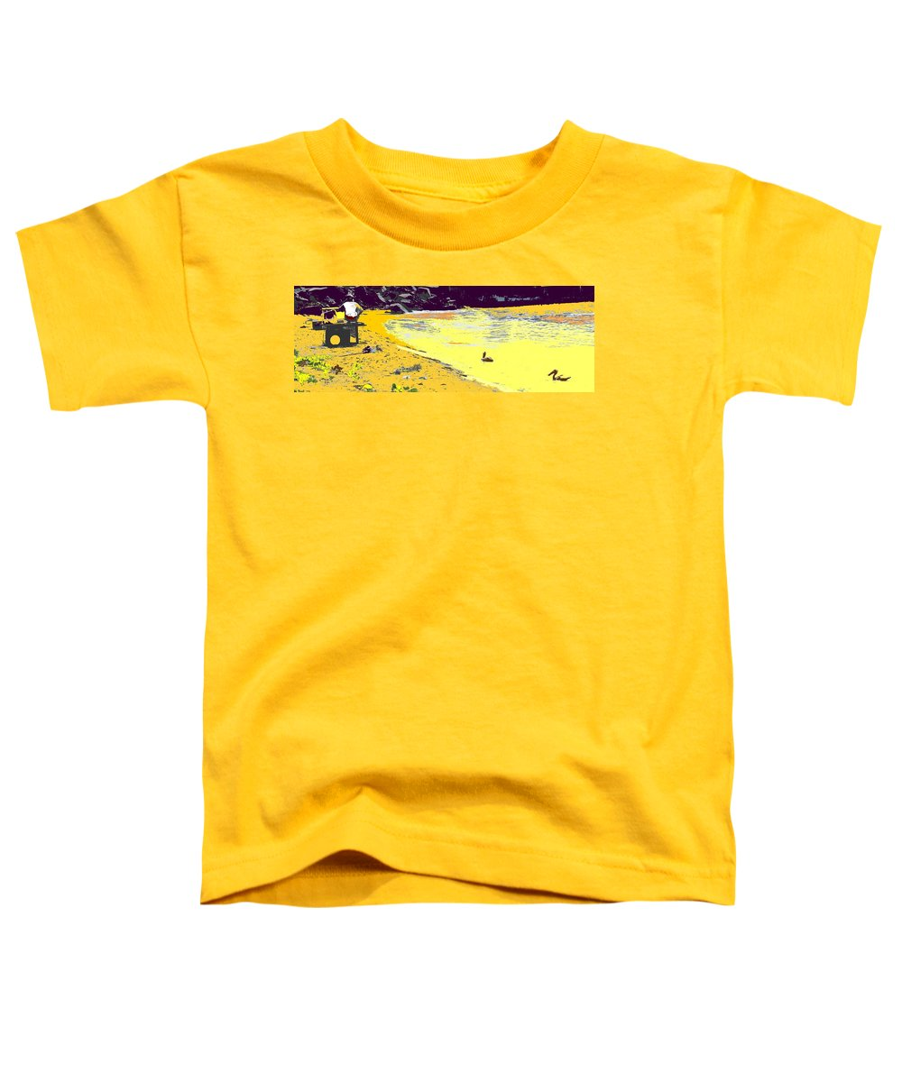 St Kitts Toddler T-Shirt featuring the photograph Feeding The Pelicans by Ian MacDonald