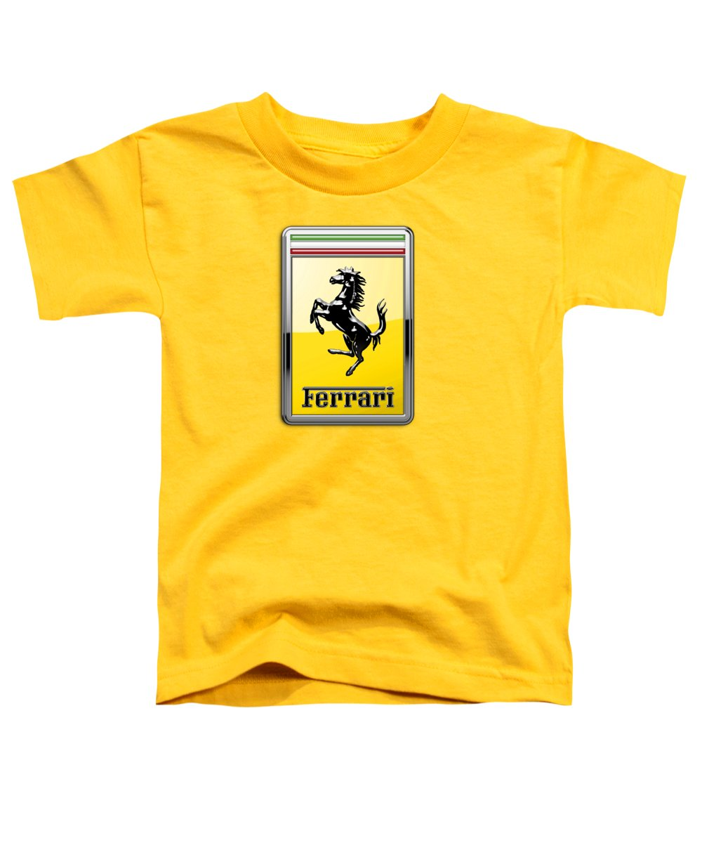 �auto Badges� Collection By Serge Averbukh Toddler T-Shirt featuring the photograph Ferrari 3D Badge- Hood Ornament on Yellow by Serge Averbukh