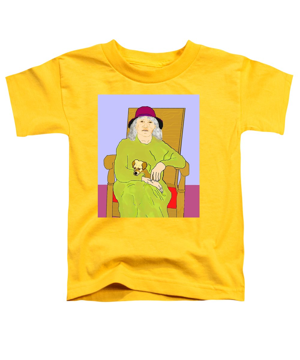 Grandmother Toddler T-Shirt featuring the painting Grandma And Puppy by Pharris Art