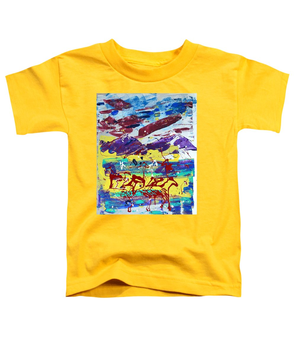 Horses Grazing Toddler T-Shirt featuring the painting Green Pastures And Purple Mountains by J R Seymour