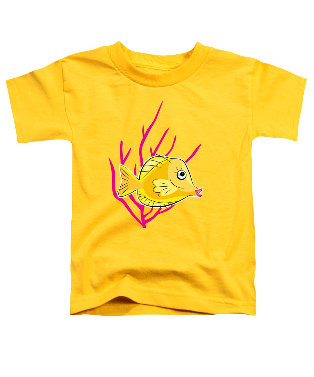 Fish Toddler T-Shirt featuring the digital art Hawaiian Yellow Tang by Antique Images