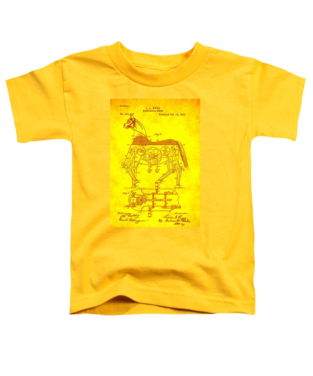Patent Toddler T-Shirt featuring the mixed media Mechanical Horse Patent Art 1j by Brian Reaves