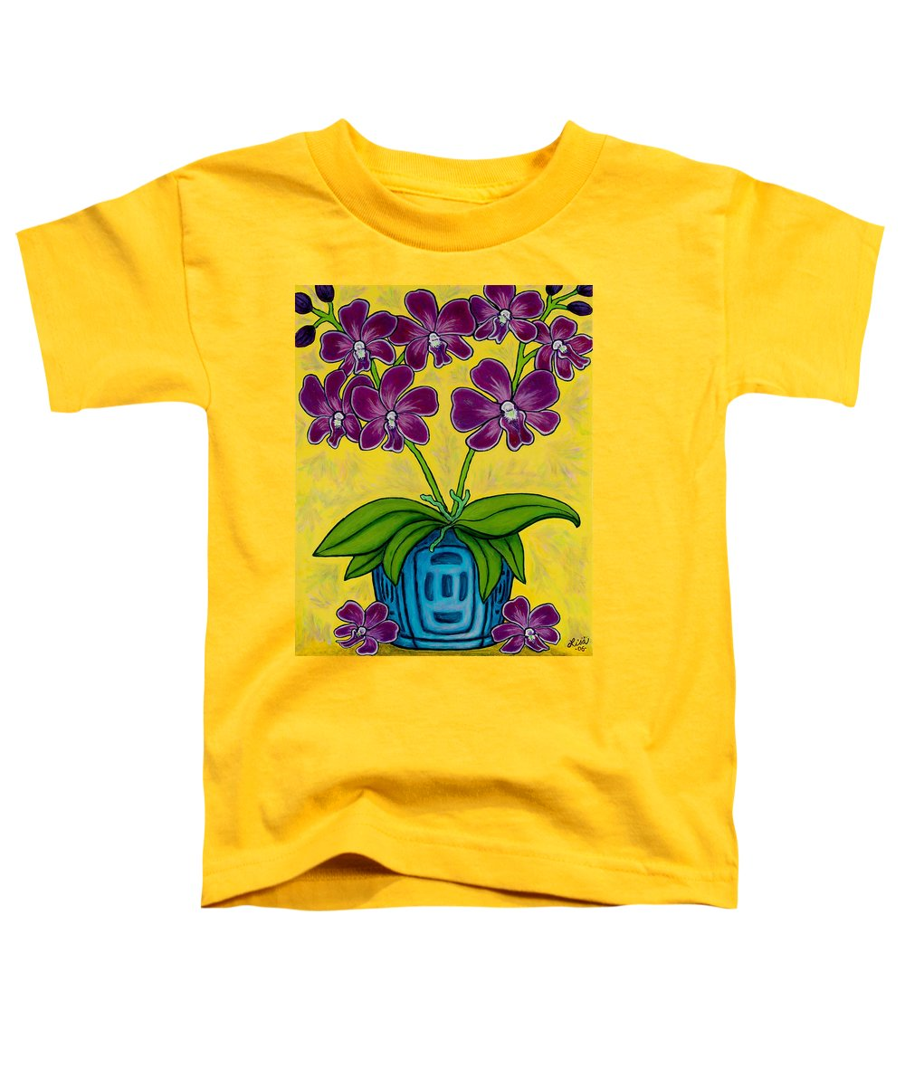Orchids Toddler T-Shirt featuring the painting Orchid Delight by Lisa Lorenz