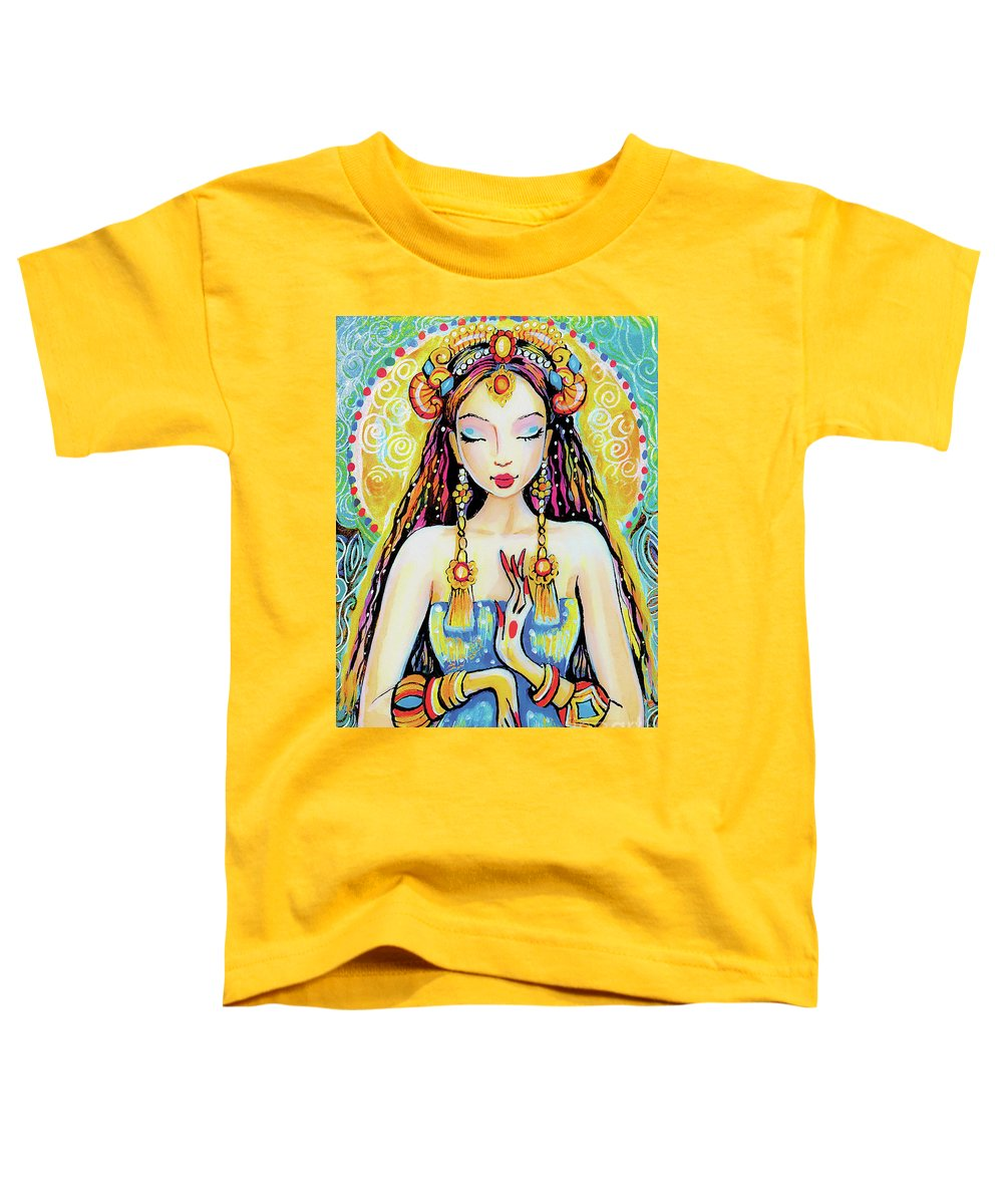 Indian Goddess Toddler T-Shirt featuring the painting Quan Yin by Eva Campbell