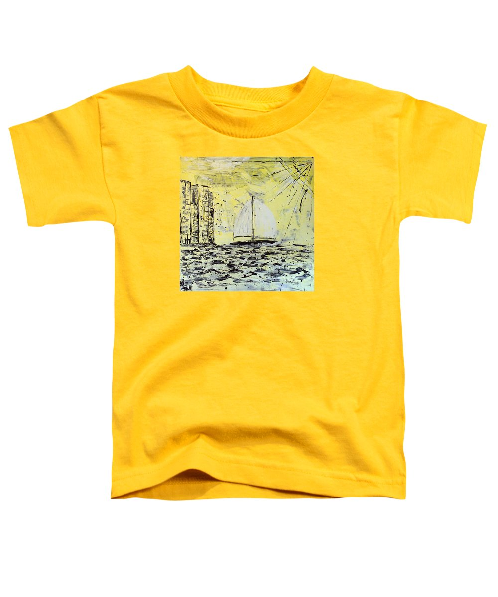 Sailboat With Sunray Toddler T-Shirt featuring the painting Sail And Sunrays by J R Seymour