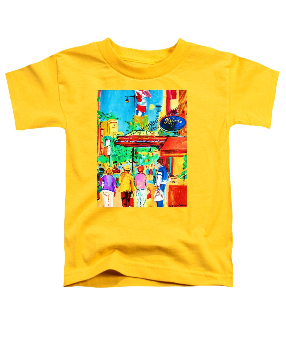 Paintings Of The Ritz Carlton On Sherbrooke Street Montreal Art Toddler T-Shirt featuring the painting Springtime Stroll by Carole Spandau