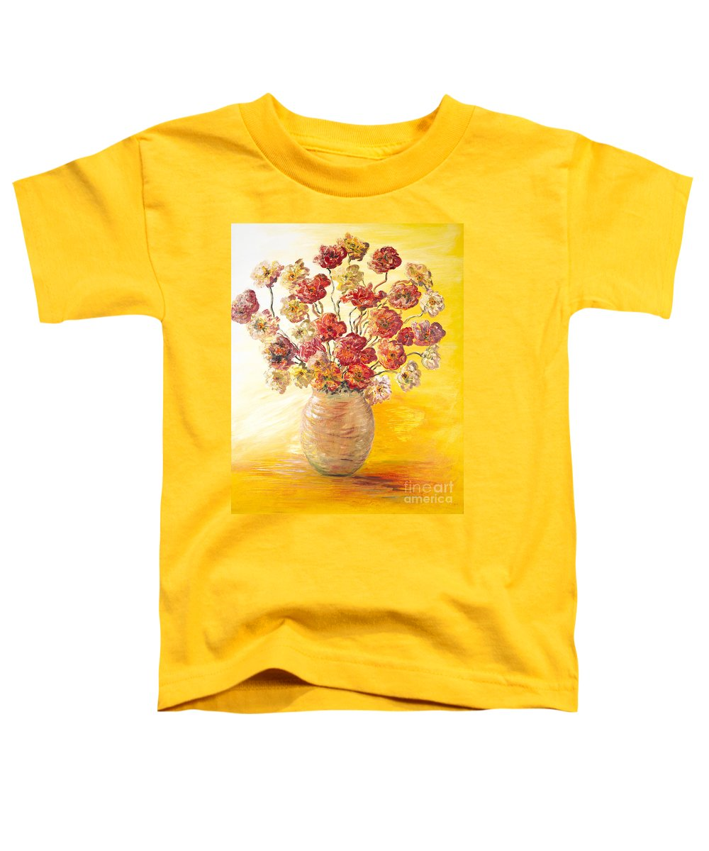 Flowers Toddler T-Shirt featuring the painting Textured Flowers In A Vase by Nadine Rippelmeyer