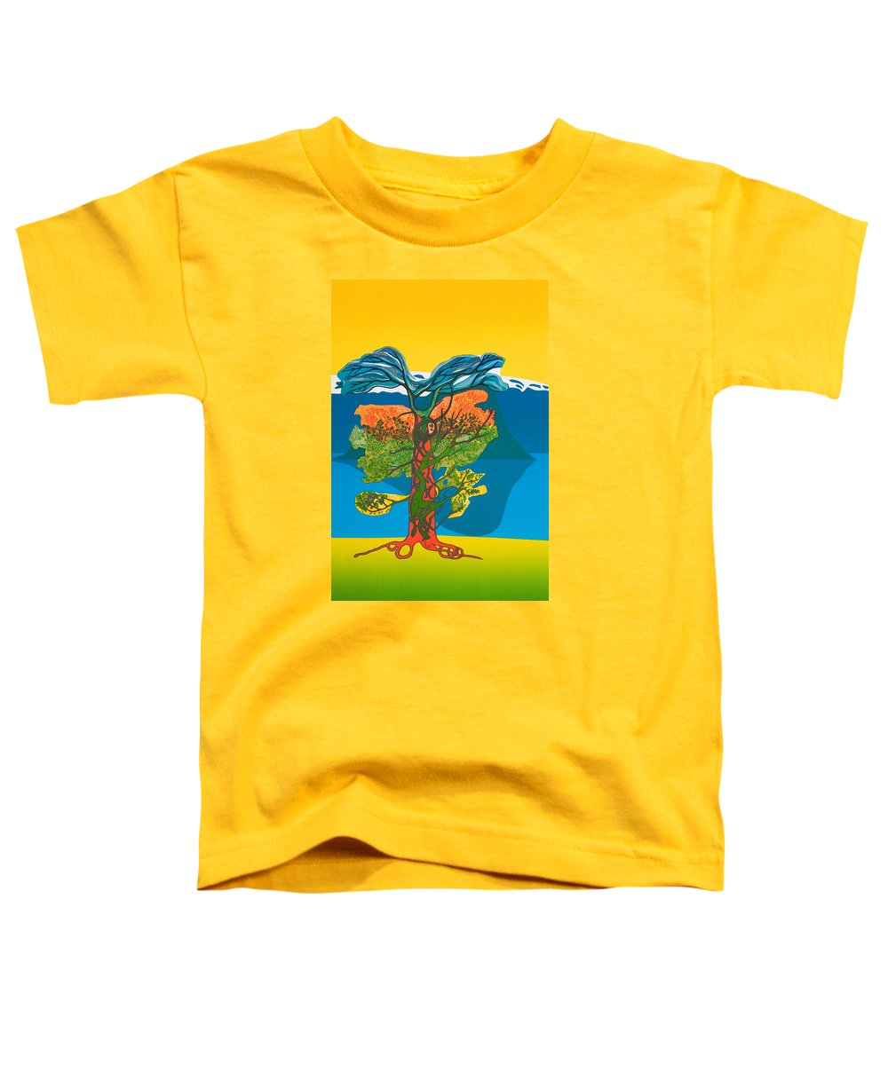 Landscape Toddler T-Shirt featuring the mixed media The Tree Of Life. From The Viking Saga. by Jarle Rosseland