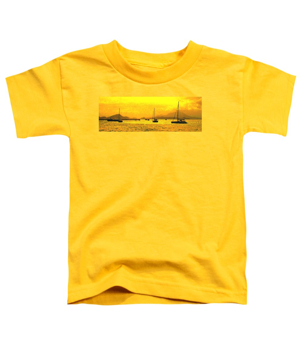 Basseterre Toddler T-Shirt featuring the photograph Towards Nevis by Ian MacDonald