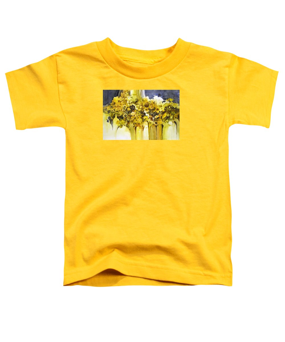 Yellow Flowers;sunflowers;vases;floral;contemporary Floral; Toddler T-Shirt featuring the painting Vases Full Of Blooms  by Lois Mountz