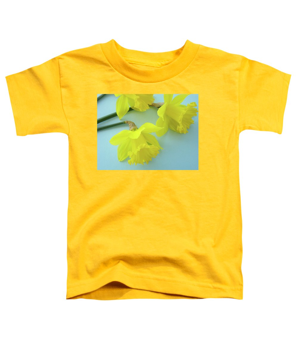 �daffodils Artwork� Toddler T-Shirt featuring the photograph Yellow Daffodils Artwork Spring Flowers Art Prints Nature Floral Art by Baslee Troutman