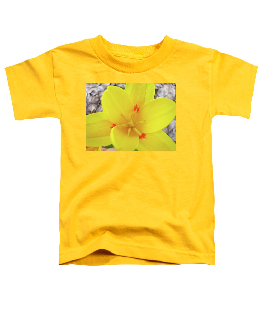 �tulips Artwork� Toddler T-Shirt featuring the photograph Yellow Tulip Flower Spring Flowers Floral Art Prints by Baslee Troutman