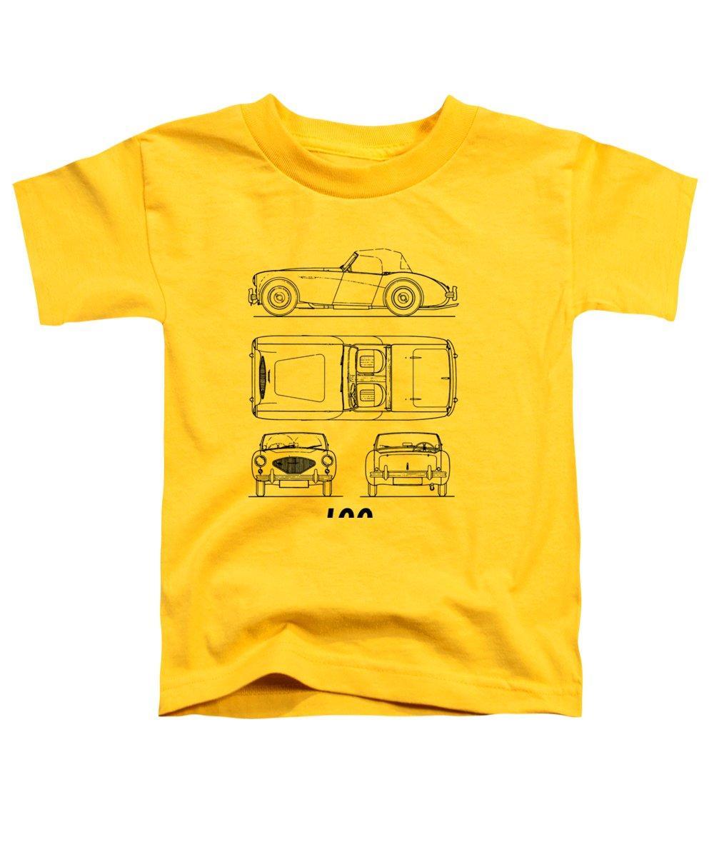 Car Toddler T-Shirt featuring the photograph Austin Healey 100 Blueprint - Black by Mark Rogan
