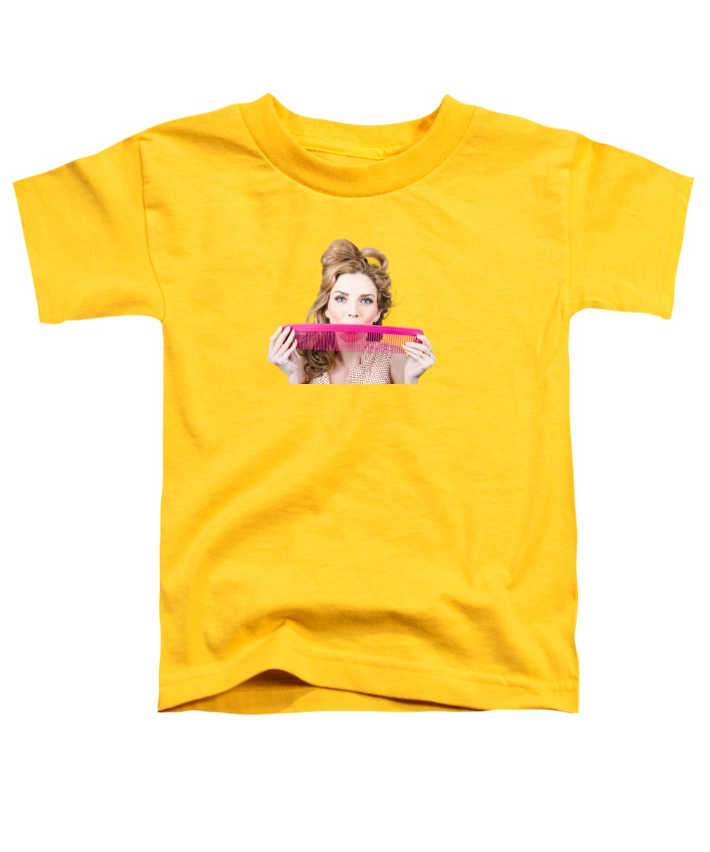 Hairdresser Toddler T-Shirt featuring the photograph Happy Hairstyle Pinup Woman Smiling With Hair Comb by Jorgo Photography - Wall Art Gallery